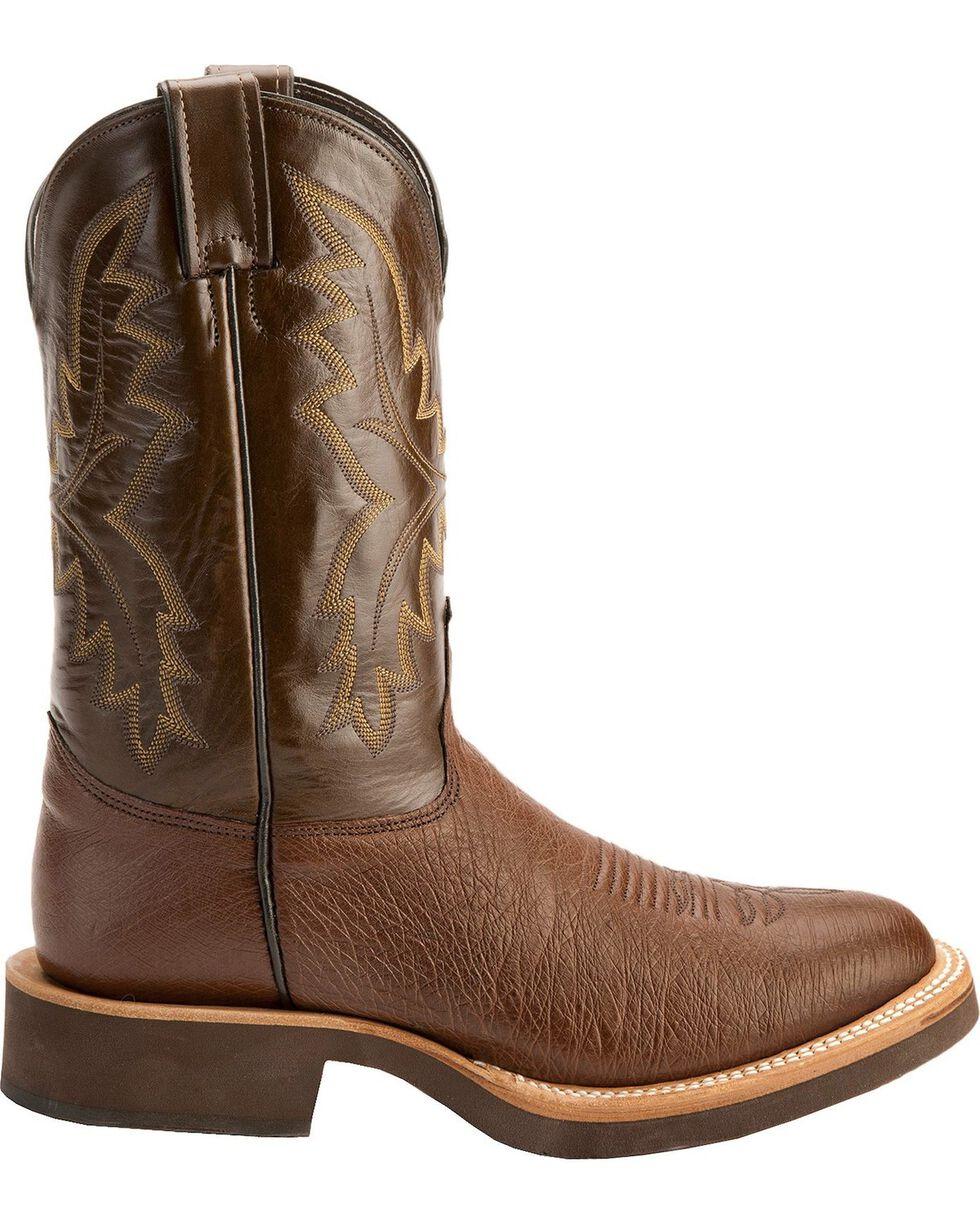 Justin Men's Smooth Ostrich Western Boots, Antique Brown, hi-res