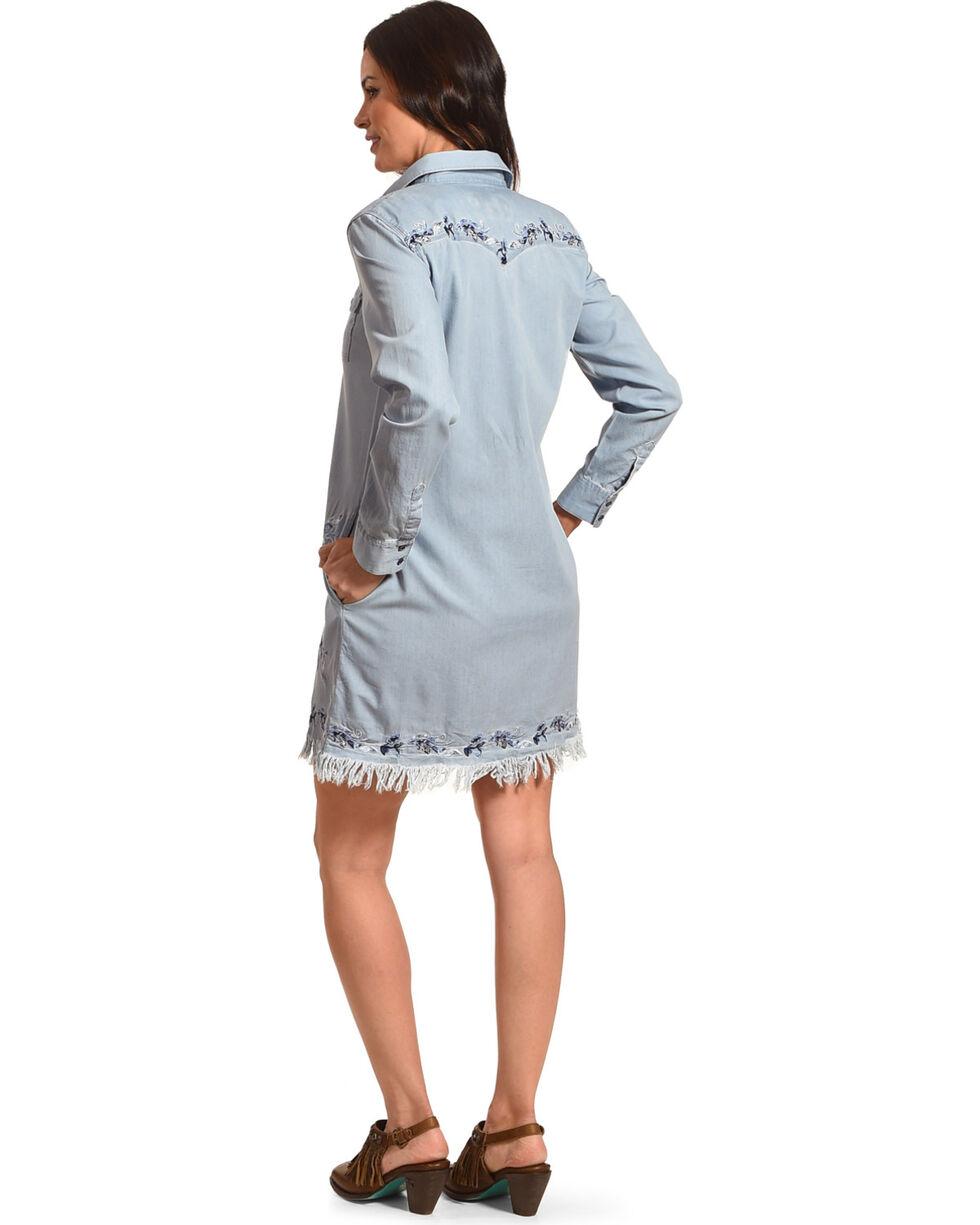 Grace in LA Women's Indigo Embroidered Denim Dress , Indigo, hi-res