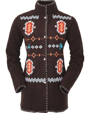 Outback Trading Company Women's Chocolate Aztec Fleece Jacket, Dark Brown, hi-res