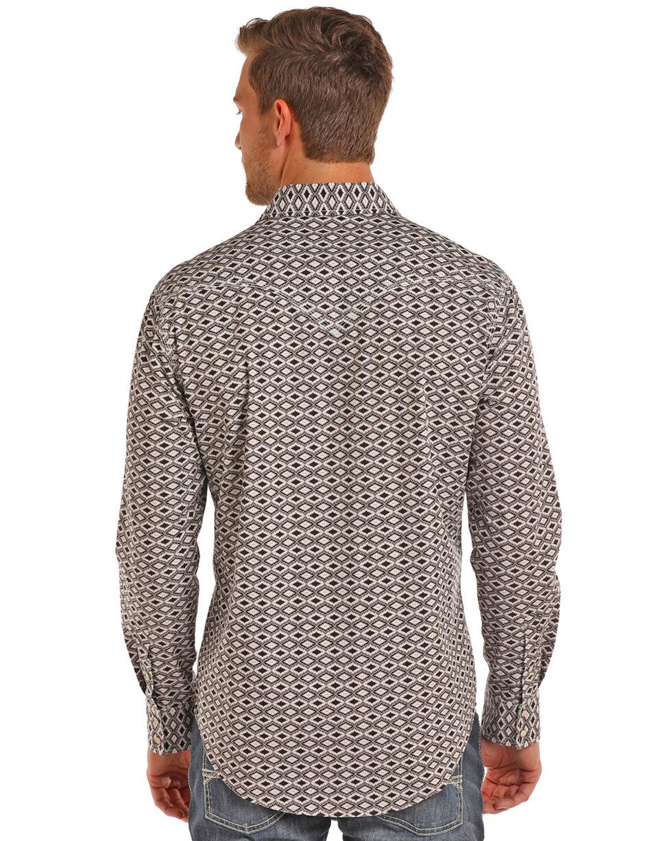 Rock & Roll Cowboy Men's Stone Washed Aztec Print Long Sleeve Snap Shirt, Brown, hi-res