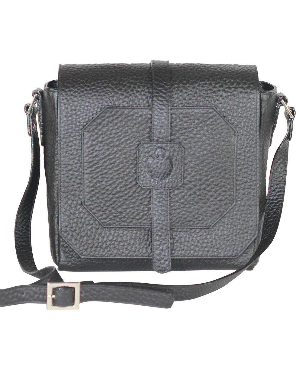 Designer Concealed Carry Black Cubic Crossbody Bag, Black, hi-res