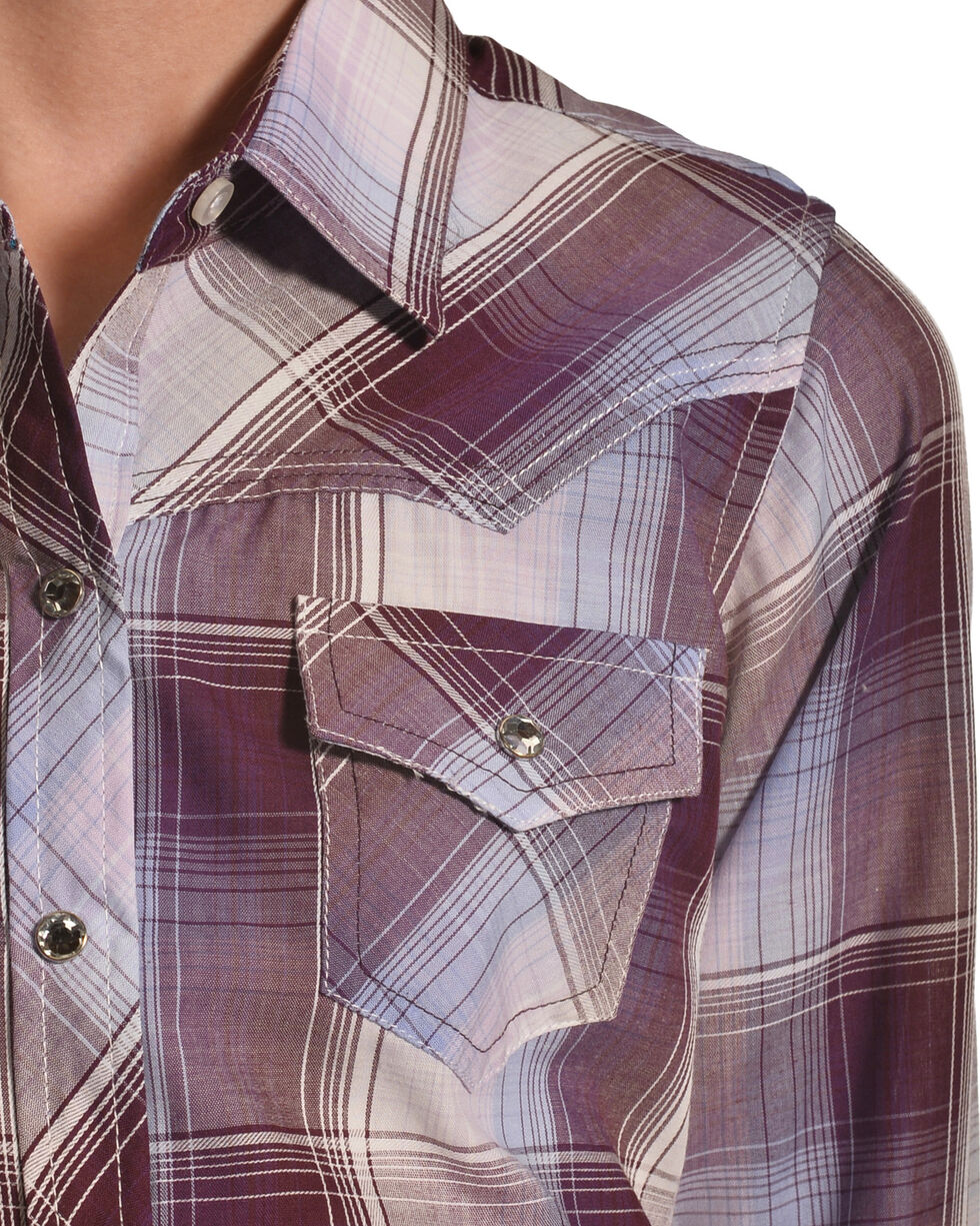 Ely Cattleman Girls' Plum Fancy Yoke Plaid Shirt , Purple, hi-res