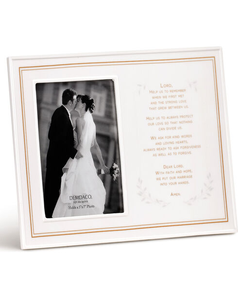 Demdaco White Wedding Prayer Ceramic Frame , White, hi-res