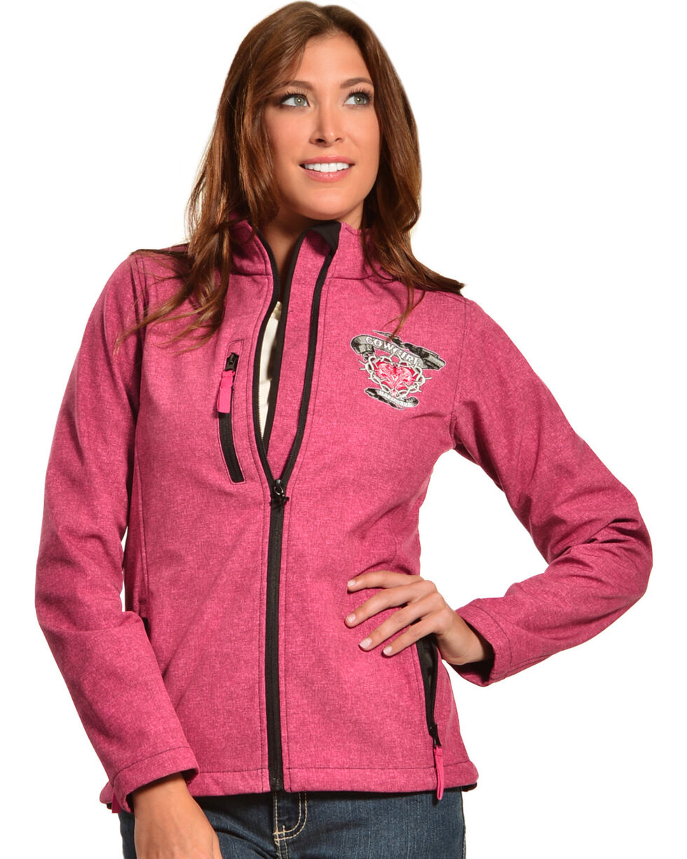 Cowgirl Hardware Pink Barbwire Heart Poly Shell Jacket, , hi-res