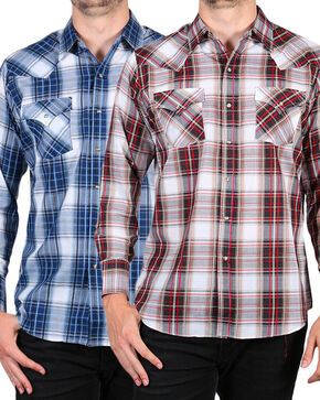 Ely Cattleman Men's Assorted Textured Plaid Long Sleeve Shirt, Multi, hi-res