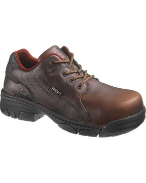 Wolverine Men's Falcon Composite Toe Oxford Work Shoes, Brown, hi-res