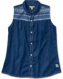 Silver Girls' Denim Sleevless Shirt, , hi-res