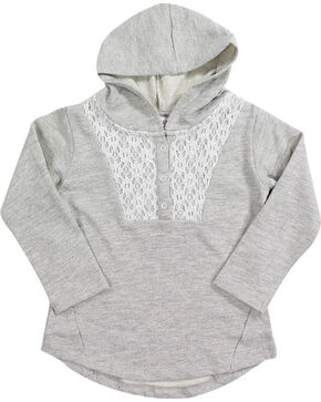 Shyanne® Toddler Girls' Lurex Lace Hoodie, Oatmeal, hi-res