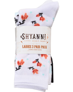 Shyanne Women's 3 Pack Crew Socks, Multi, hi-res