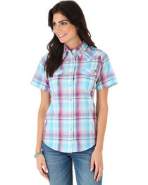 As Real As Wrangler Women's Short Sleeve Biased Yokes Plaid Top, Light Blue, hi-res