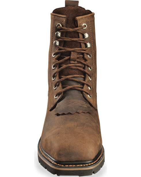 "Cody James Men's 8"" Lace Up Kiltie Work Boots - Composite Toe, Brown, hi-res"