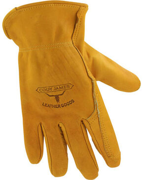 Cody James® Men's Gold Grain Cowhide Work Gloves, Camel, hi-res