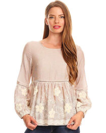 Young Essence Women's Taupe Stripe Embroidered Top , , hi-res