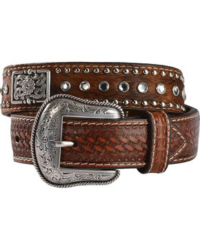 Nocona Boys' Brindle Hair Rhinestone Belt, Brown, hi-res