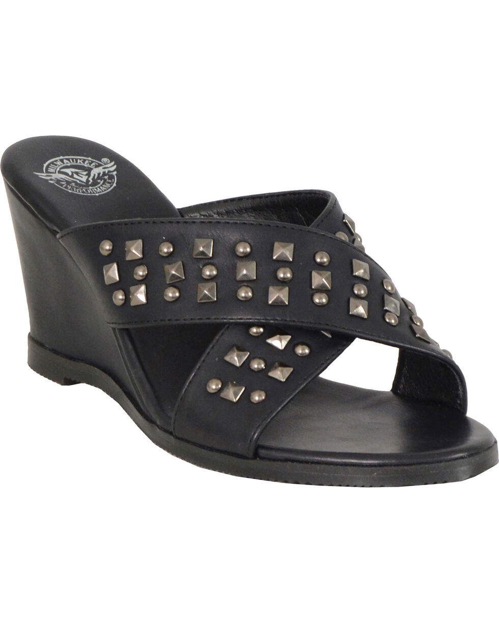 Milwaukee Leather Women's Black Studded Crossover Wedges, Black, hi-res