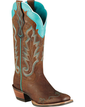 Ariat Women's Caballera Western Boots, Brown, hi-res