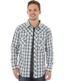 Wrangler Men's Black & White Plaid Western Jean Shirt, , hi-res