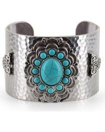 Shyanne® Women's Wide Turquoise Concho Bracelet Cuff, , hi-res