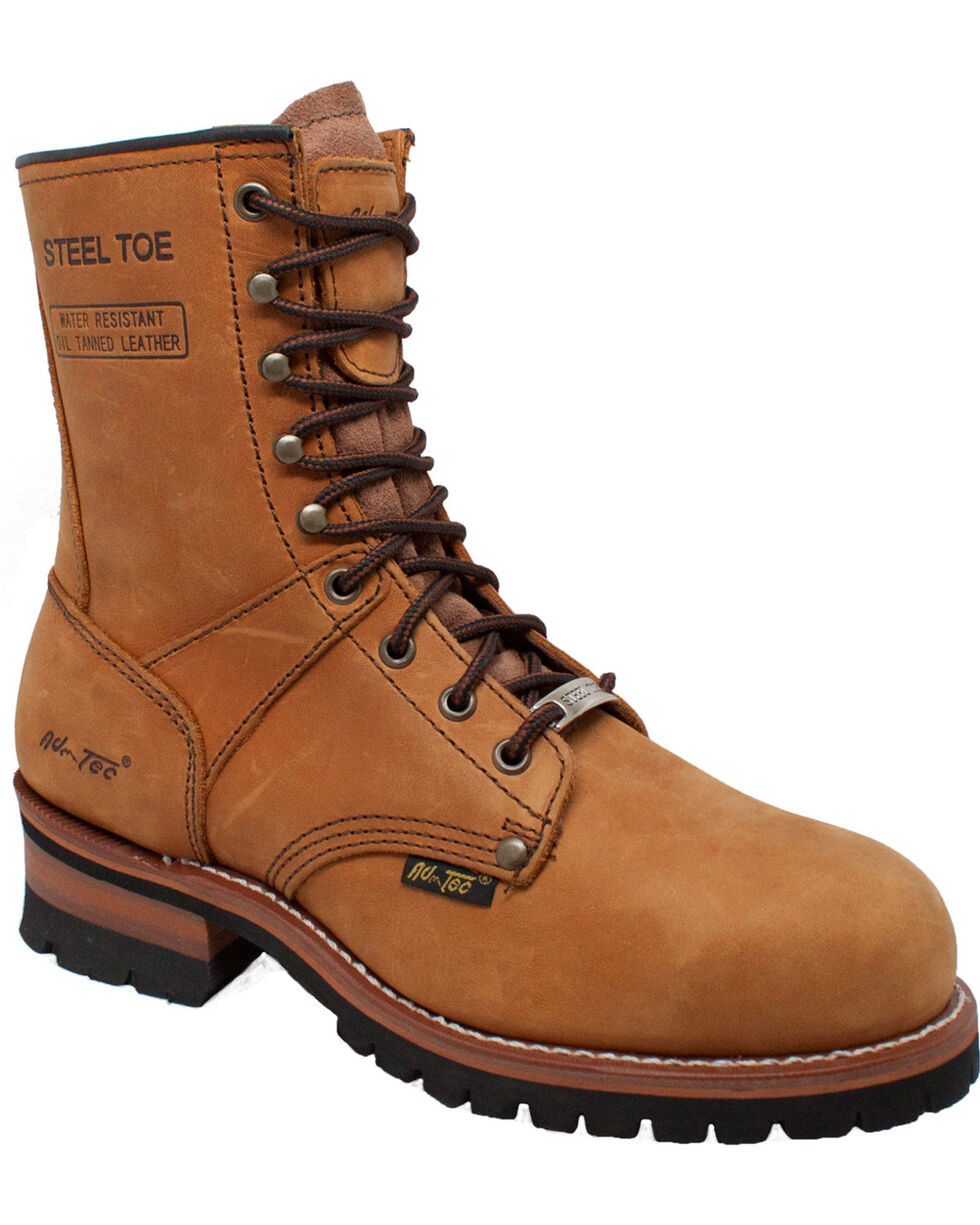"Ad Tec Men's 9"" Brown Leather Logger Boots - Steel Toe, Brown, hi-res"