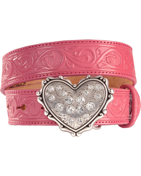 Heart Buckle Tooled Leather Belt - 18-28, Pink, hi-res
