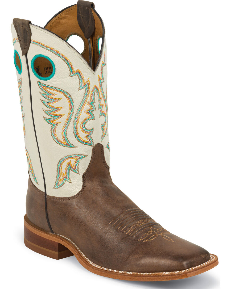 Justin Burnished Ivory Cowboy Boots - Square Toe, Chocolate, hi-res