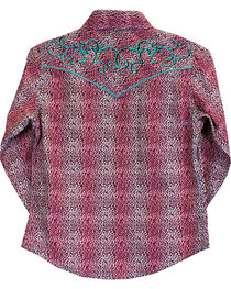 Cowgirl Hardware Girl's Leopard Print Long Sleeve Snap Shirt, , hi-res