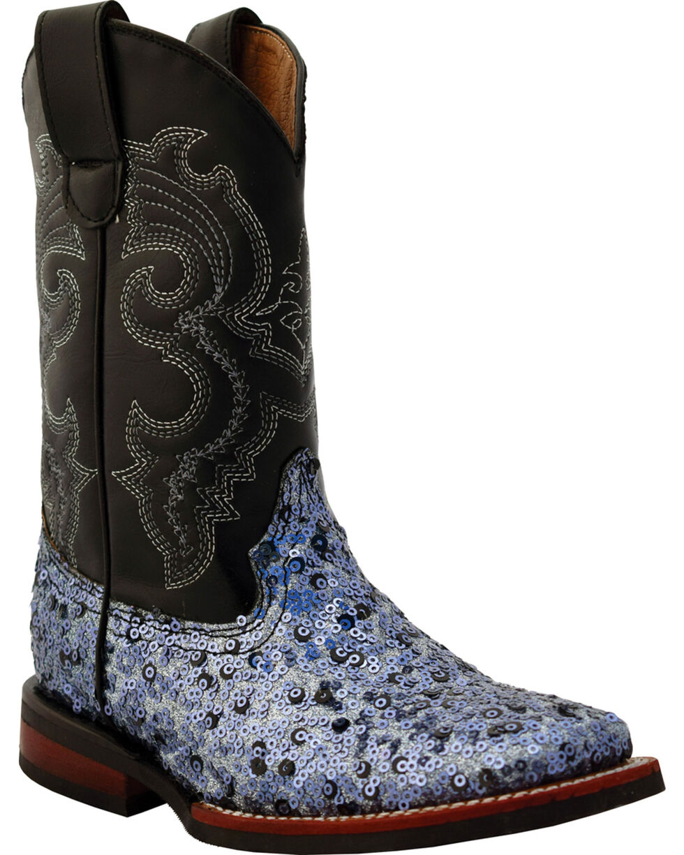 Ferrini Girls' Slate Sparkle Cowgirl Boots - Square Toe, Slate, hi-res