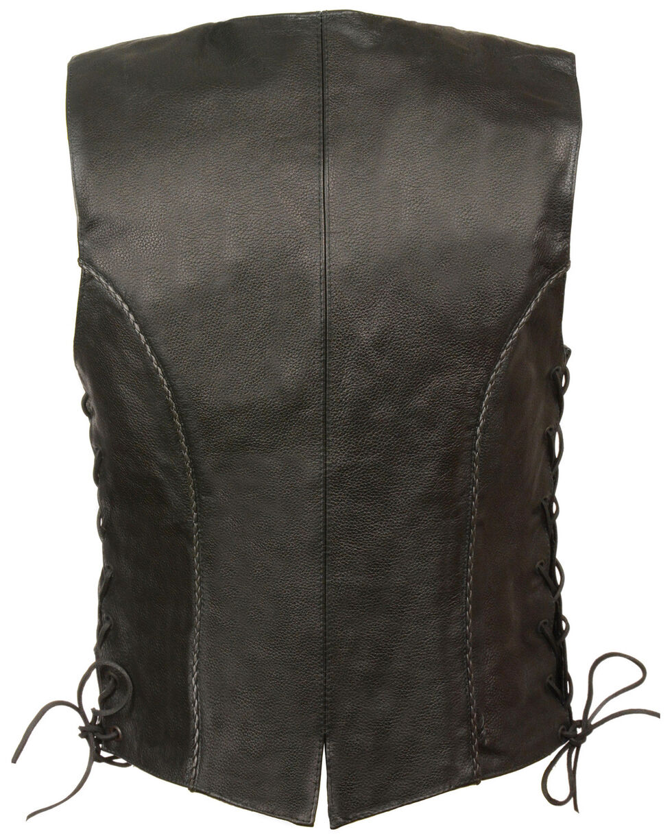 Milwaukee Leather Women's Thin Braid Snap Front Vest, Black, hi-res