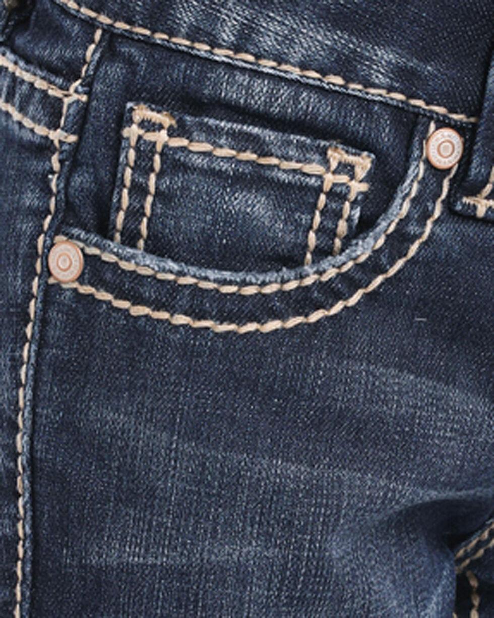 Rock & Roll Cowgirl Girls' Aztec Embroidered Dark Wash Jeans - Boot Cut, Indigo, hi-res