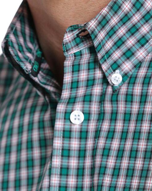 Cinch Men's Teal Plaid Button Down Short Sleeve Shirt , Teal, hi-res