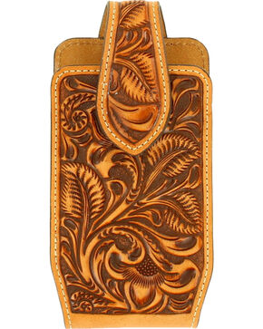 Nocona Floral Embossed Phone Case , Tan, hi-res