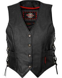 Milwaukee Women's Deuce Leather Motorcycle Vest, , hi-res