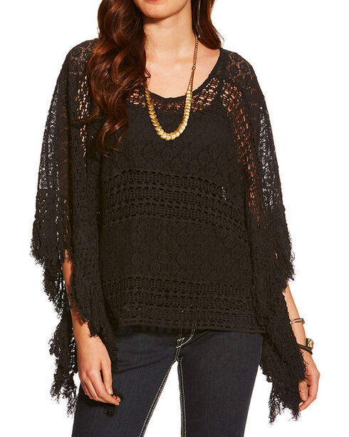 Ariat Women's Lace Poncho, Black, hi-res