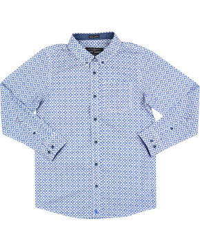 Cody James® Boys' Diamond Patterned Long Sleeve Shirt, White, hi-res