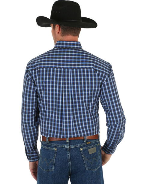 Wrangler George Strait Men's Blue & Black Plaid Shirt, Blue, hi-res