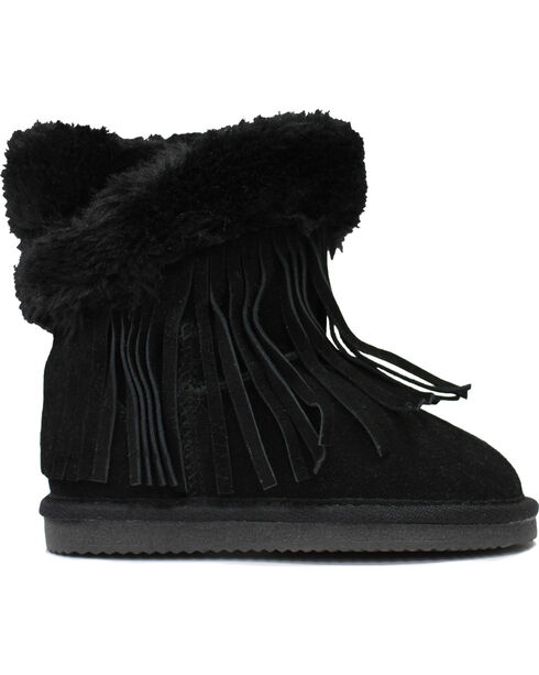 Lamo Footwear Kid's Fringe Wrap Boots, Black, hi-res