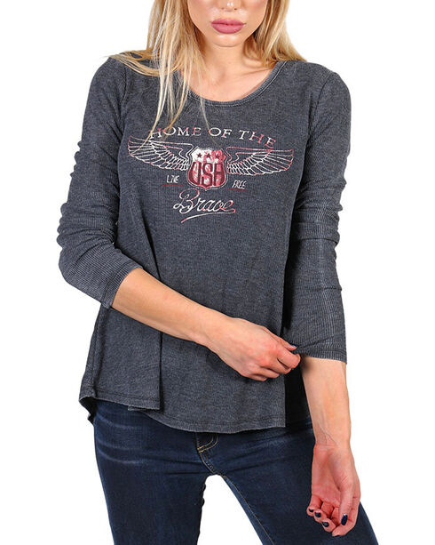 White Crow Women's Home Of The Brave Long Sleeve Thermal  Shirt, Black, hi-res