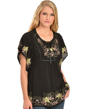 Scully Women's Embroidered Short Sleeve Tunic, Black, hi-res