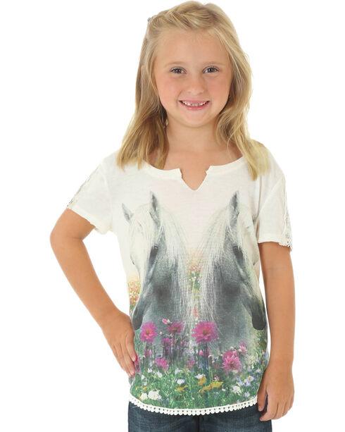 Wrangler Girls' Horse Graphic Short Sleeve Shirt, Ivory, hi-res