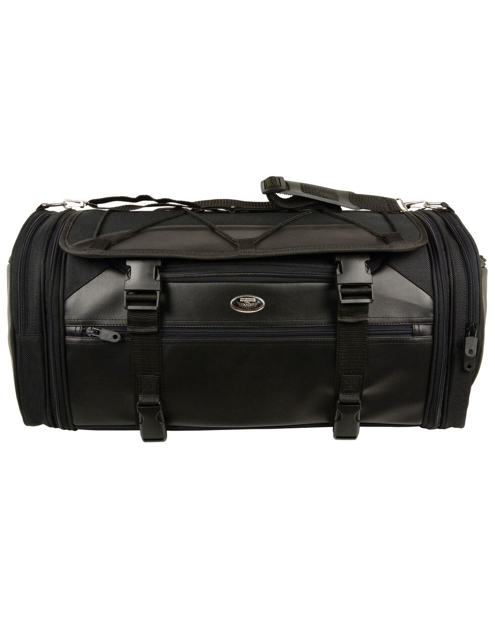 Milwaukee Leather Large Nylon Duffle Style Rack Bag , Black, hi-res