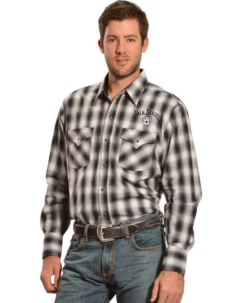 Jack Daniel's Men's Long Sleeve Plaid Logo Shirt, Black, hi-res