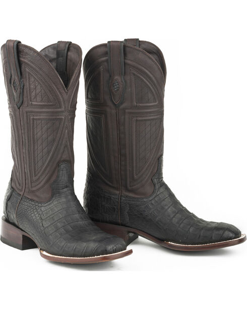 Stetson Men's Houston Caiman Exotic Boots, Black, hi-res