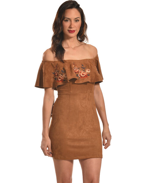 Flying Tomato Women's Tan Ruffle Front Dress , Black, hi-res