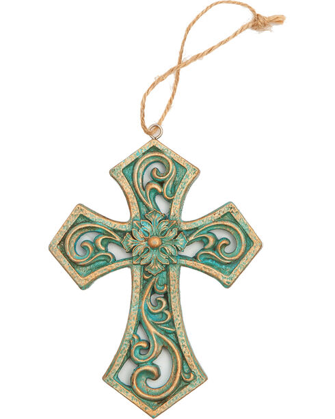 BB Ranch Gold and Turquoise Cutout Cross Ornament , Multi, hi-res