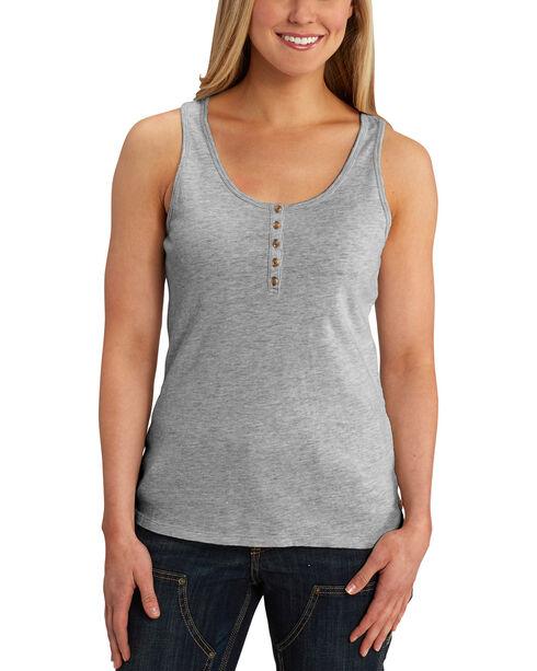 Carhartt Women's Lockhart Stretch Cotton Henley Tank Top, Grey, hi-res