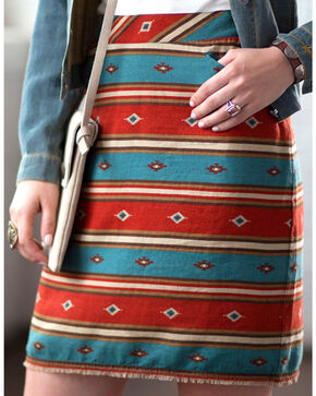 Ryan Michael Women's Serape Stripe Skirt, Chili, hi-res