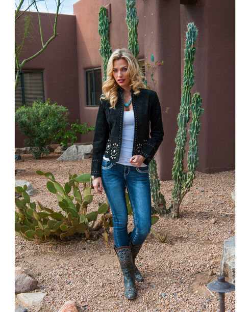 Scully Women's Stud and Concho Suede Jacket, Black, hi-res