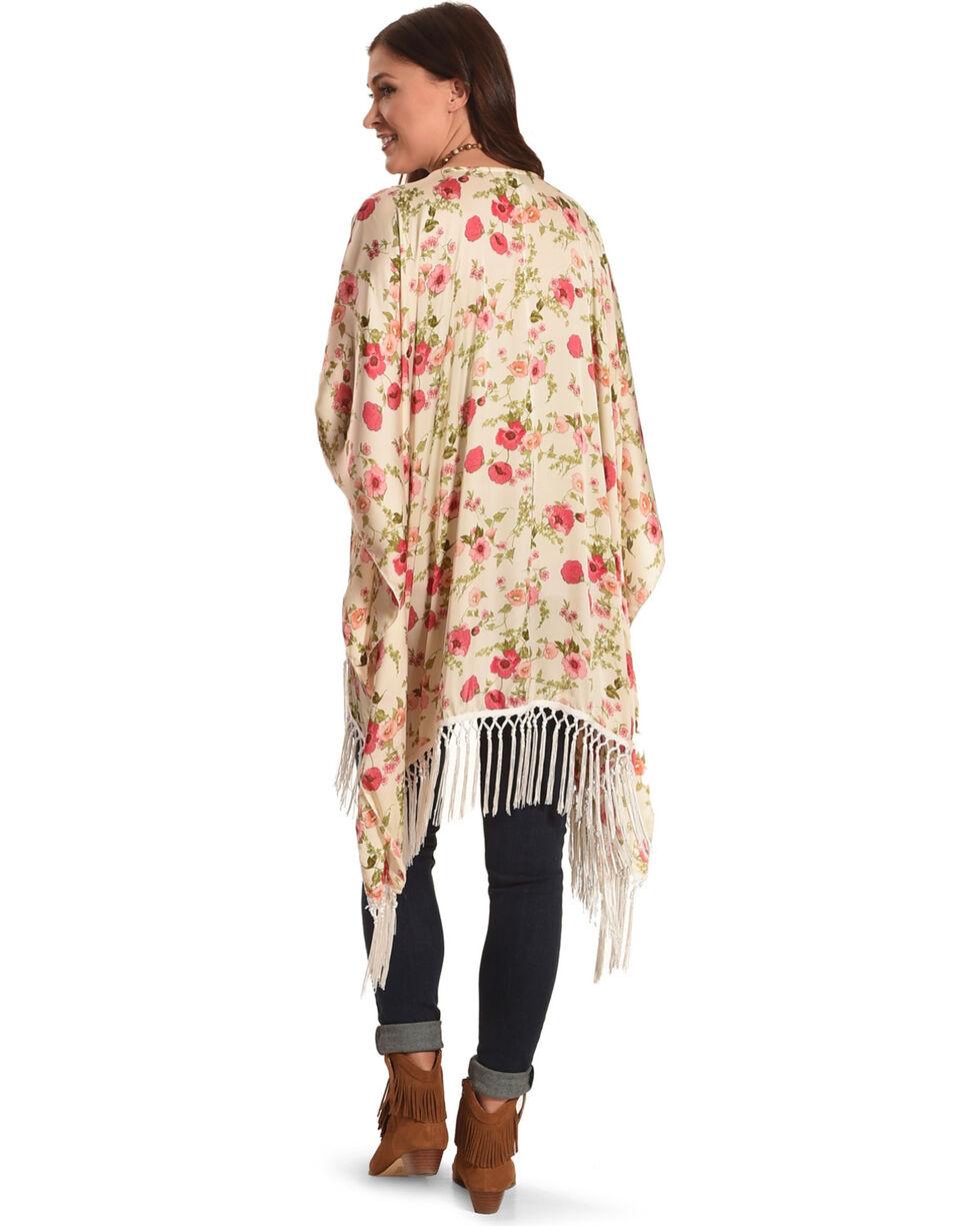 Luna Chix Women's Floral Fringe Kimono, Ivory, hi-res