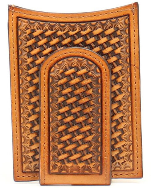 Nocona Basketweave Money Clip, Tan, hi-res