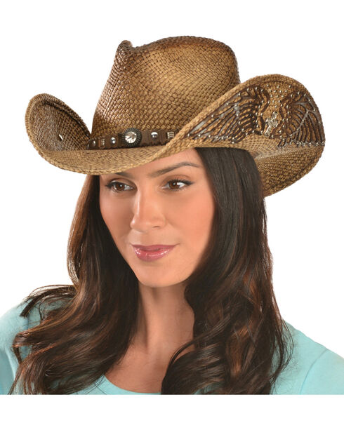 Bullhide Women's Western Inspiration Straw Hat, Multi, hi-res